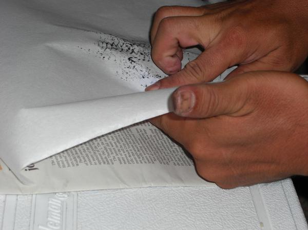 rubbing the rice paper